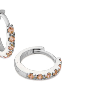 orange sapphire huggie earrings 18ct white gold
