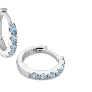 blue topaz huggie earrings 18ct white gold