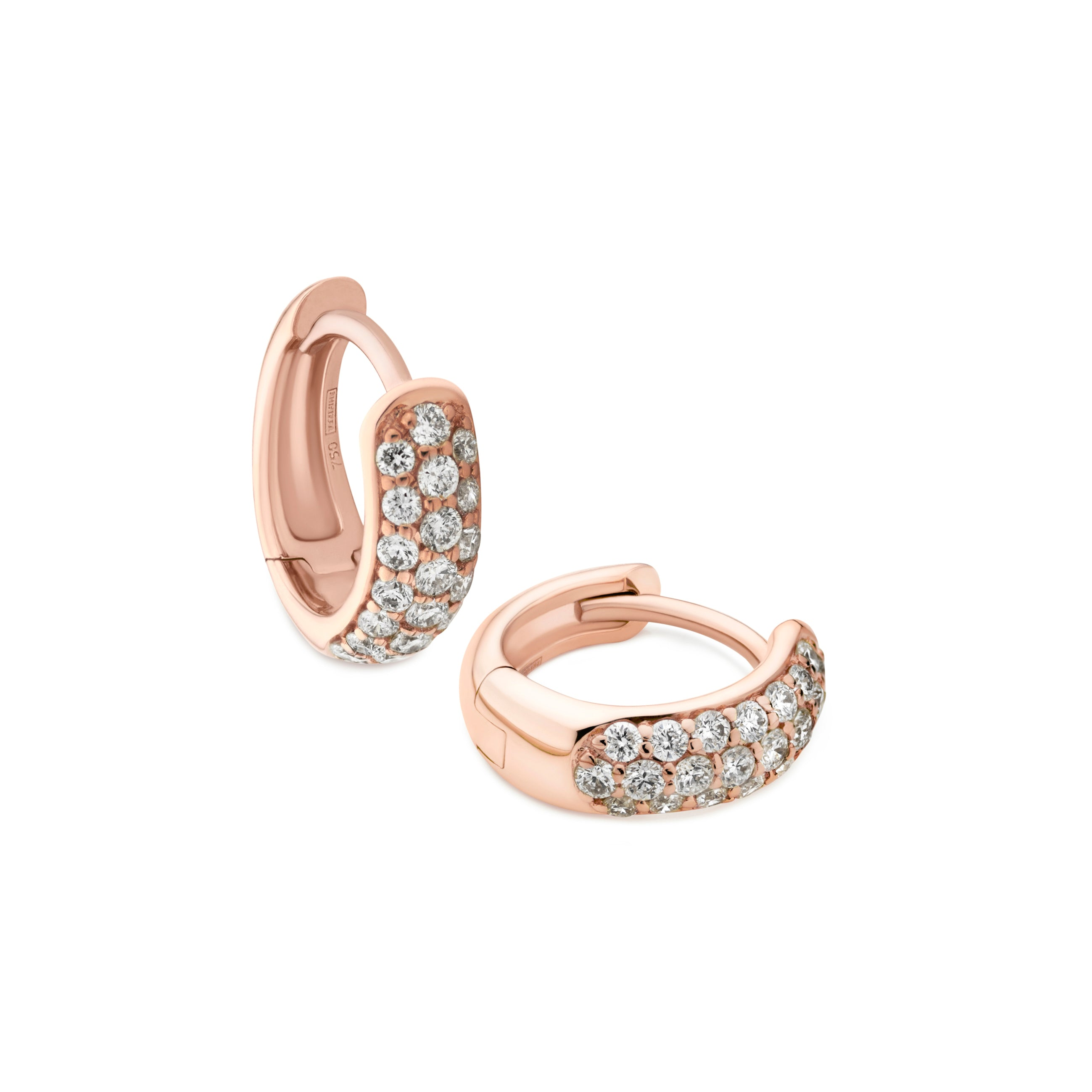 3-row diamond Gemopoli huggie earrings