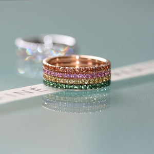 Full Bloom eternity ring stack 18ct gold