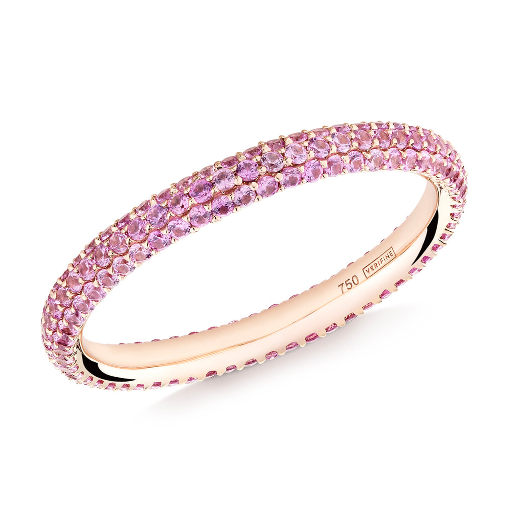 Gemopoli 3 row pink sapphire full eternity ring 18ct rose gold