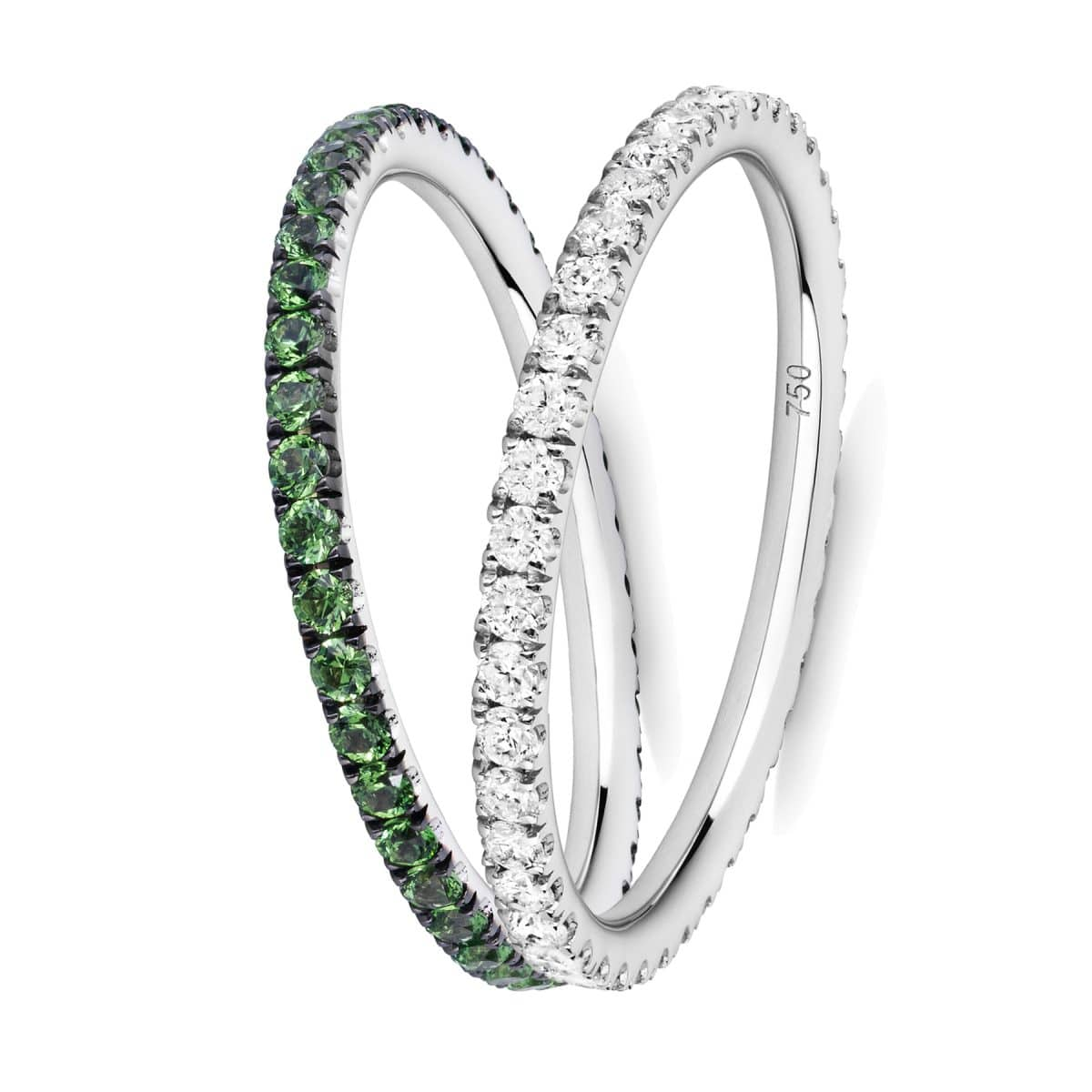 green garnet and diamond ring pair