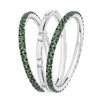 green garnet filler ring stack 18ct white gold