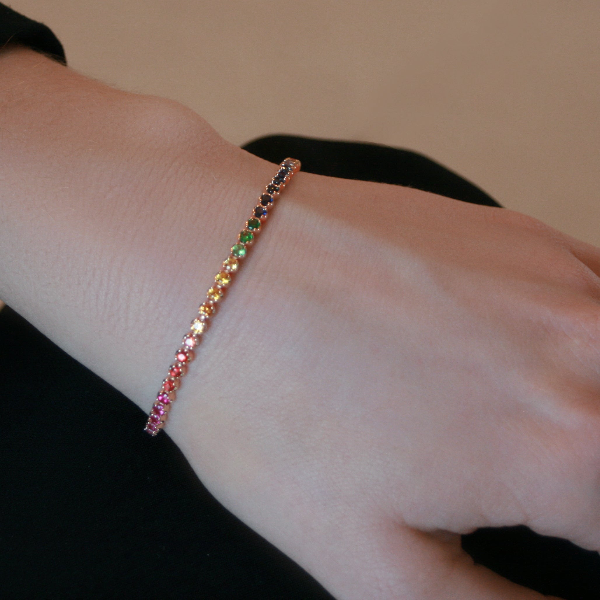 18ct rose gold Rainbow tennis bracelet 54 sapphires