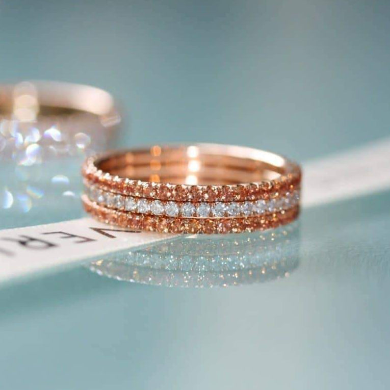 Diamonds on Fire eternity ring stack 18ct rose gold