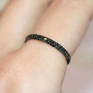 Gemopoli 3 row black diamond half eternity 18ct yellow gold