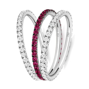 Line of Love eternity ring stack 18ct white gold