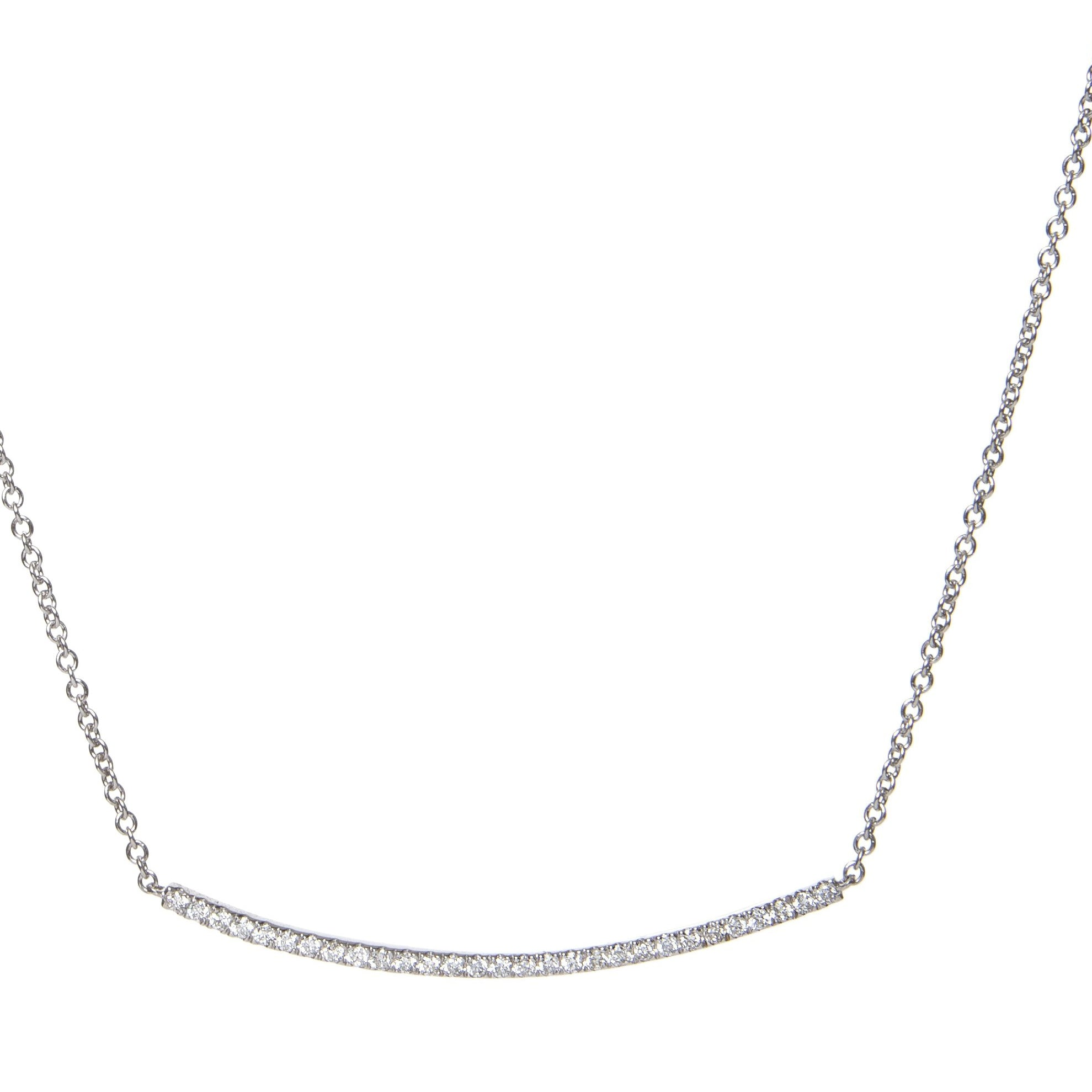 diamond curved bar pendant 18ct white gold