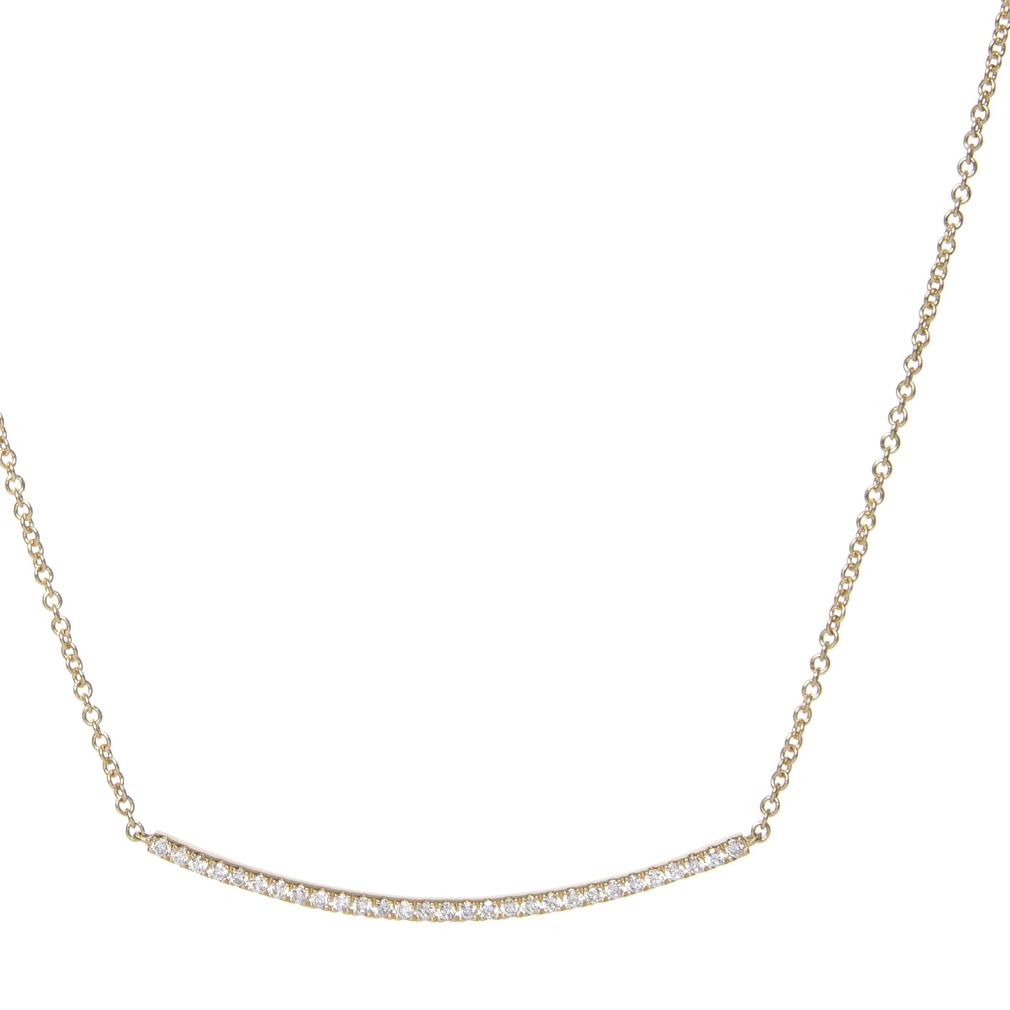 diamond curved bar pendant 18ct yellow gold