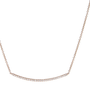 diamond curved bar necklace 18ct rose gold