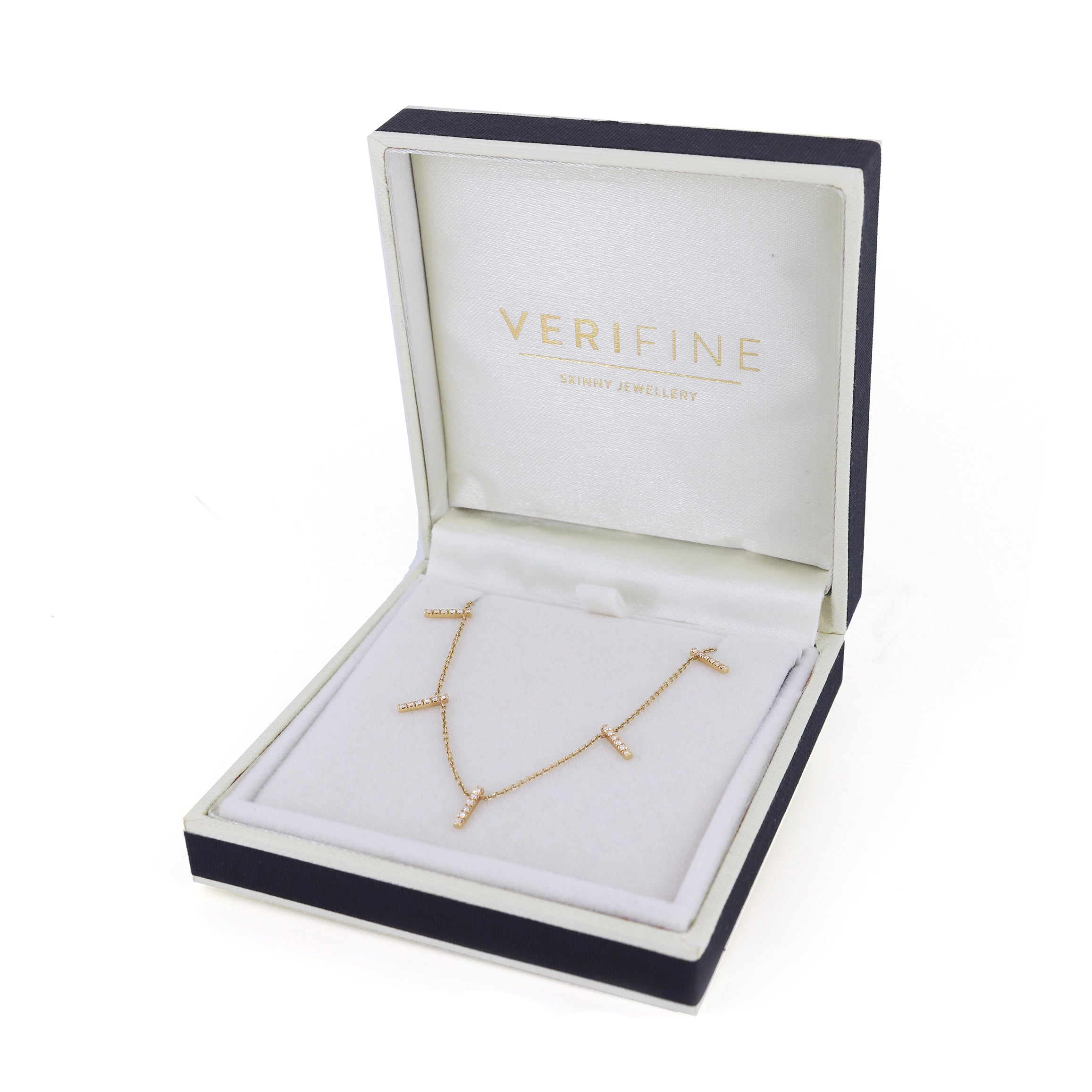 diamond skinny 5 bar necklace 18ct rose gold