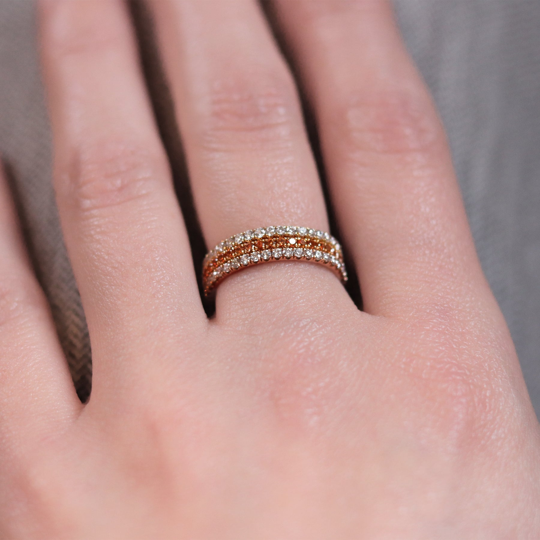 Orange Blossom eternity ring stack