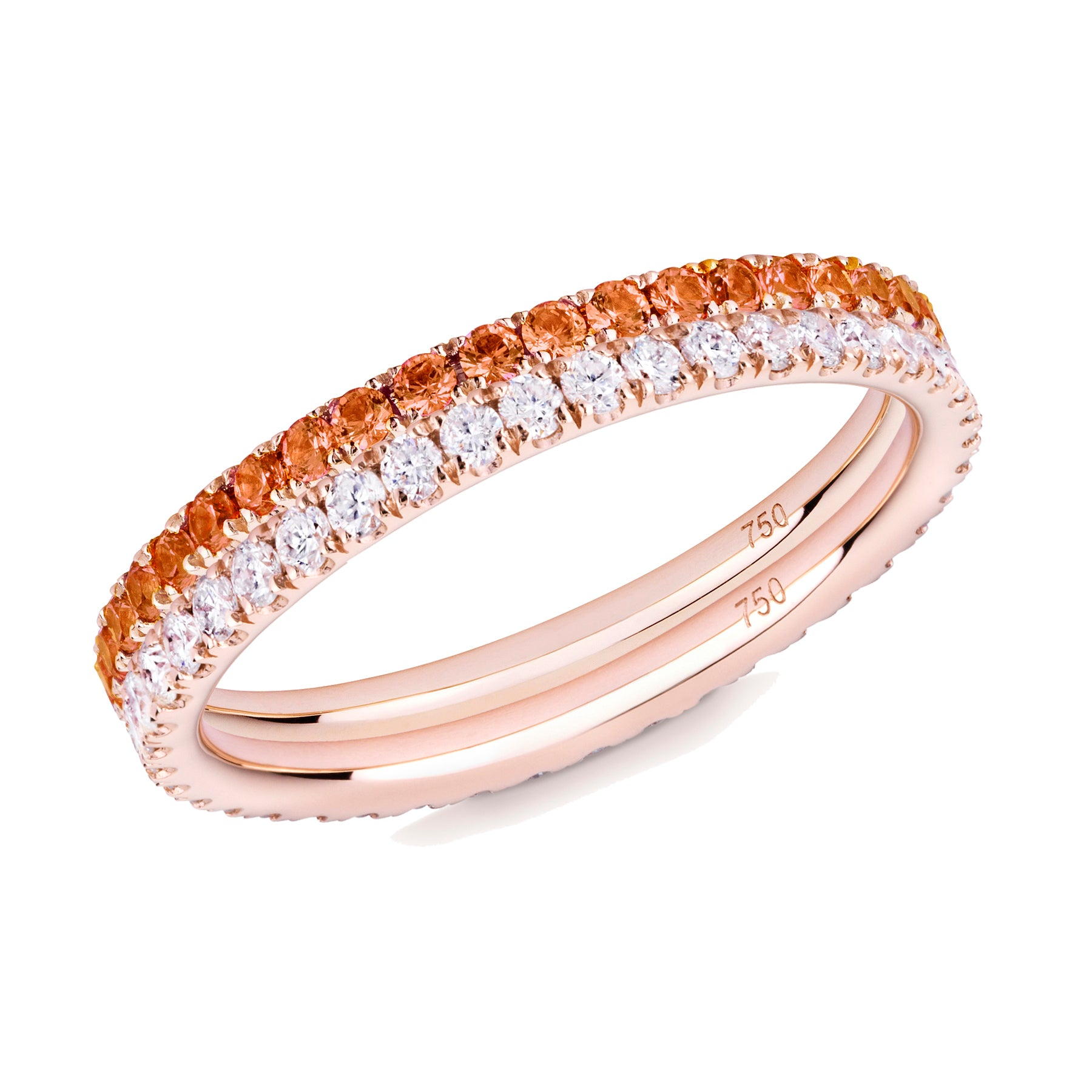 orange sapphire and diamond ring pair 18ct rose gold
