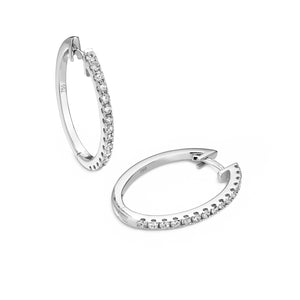 diamond oval hoops 18ct white gold