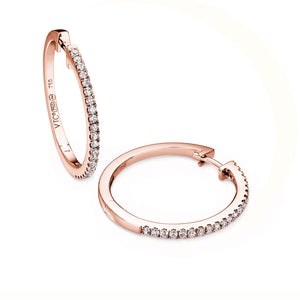 diamond 20mm hoops 18ct rose gold