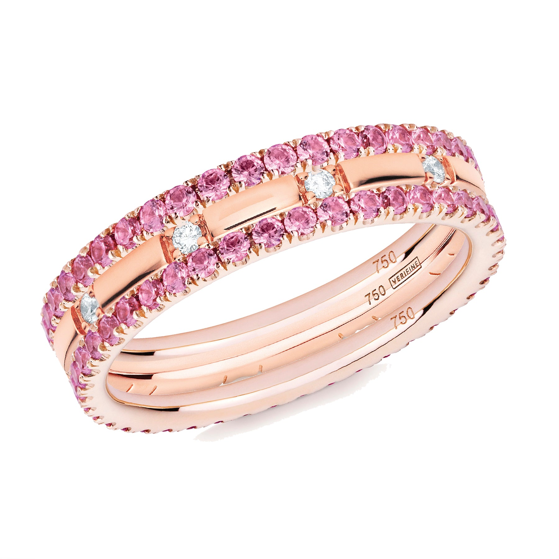 pink sapphire filler ring stack 18ct rose gold