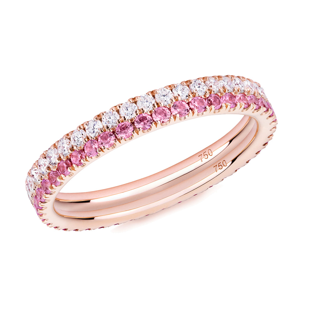 diamond and pink sapphire ring pair 18ct rose gold