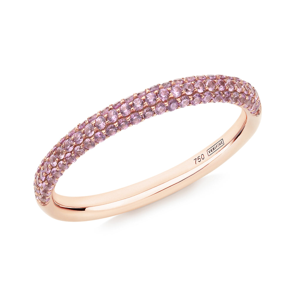 Gemopoli 3 row pink sapphire half eternity ring 18ct rose gold