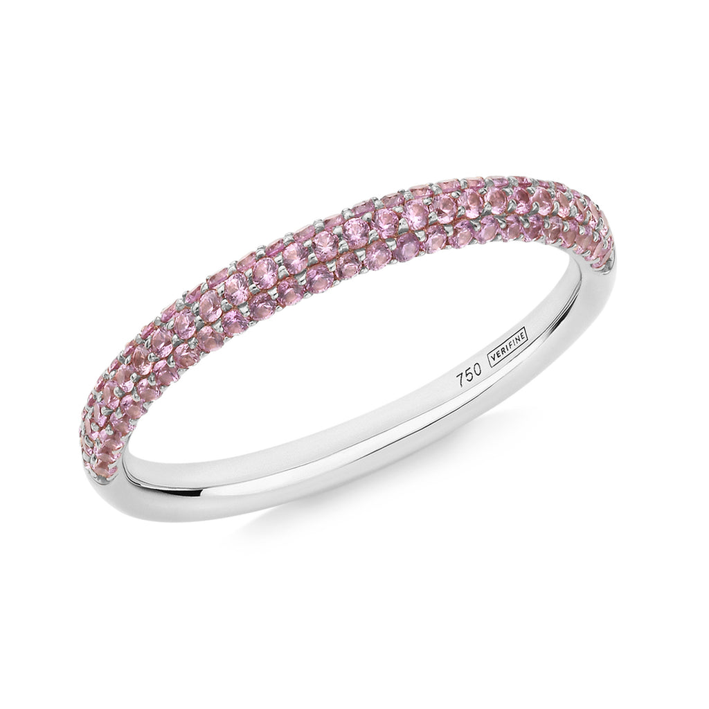 Gemopoli 3 row pink sapphire half eternity ring 18ct white gold