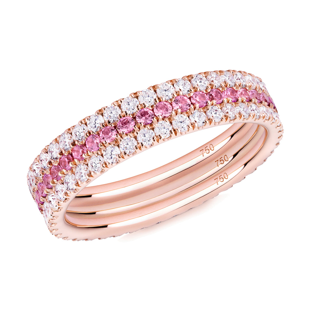 Pretty in Pink eternity ring stack 18ct rose gold