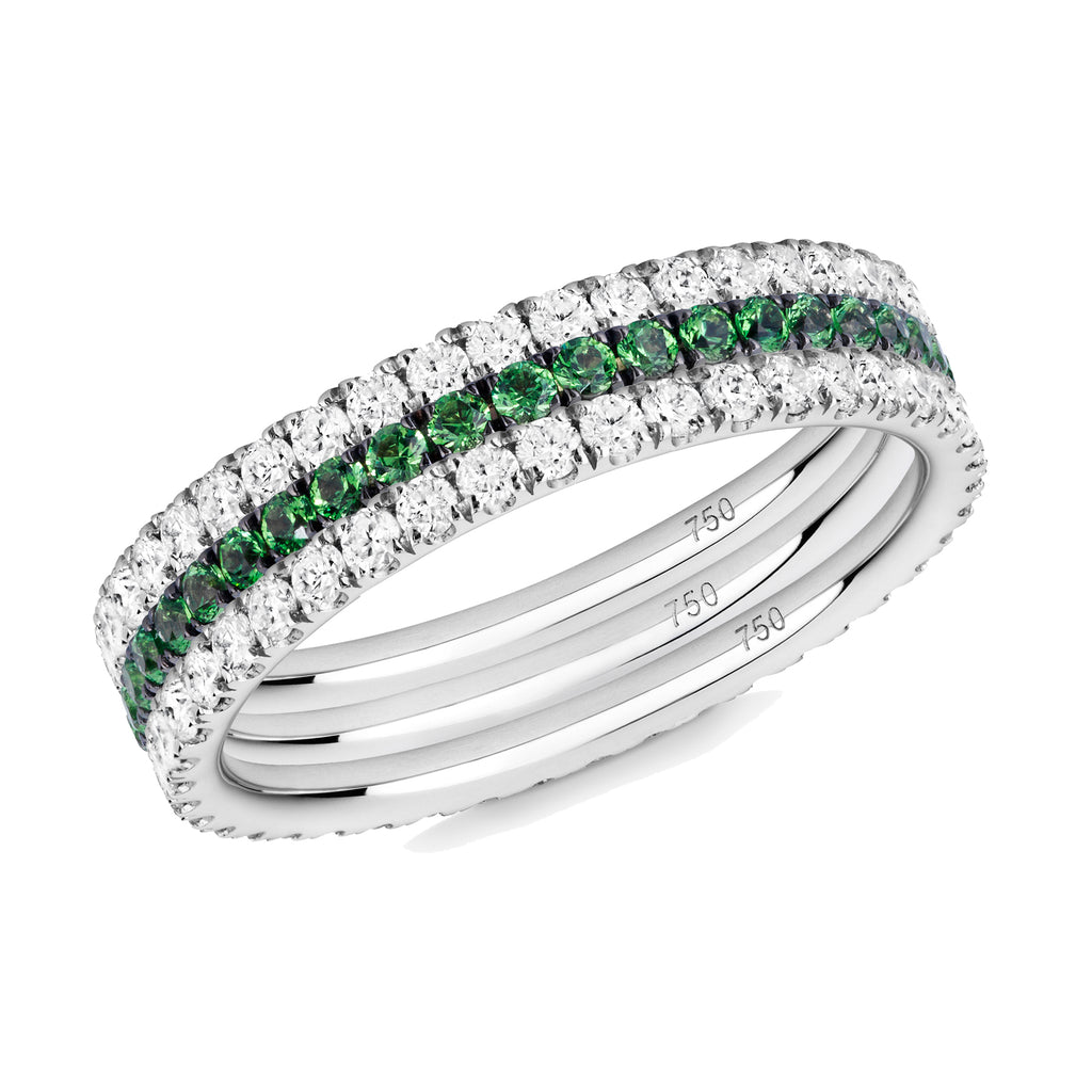 Green Goddess eternity ring stack