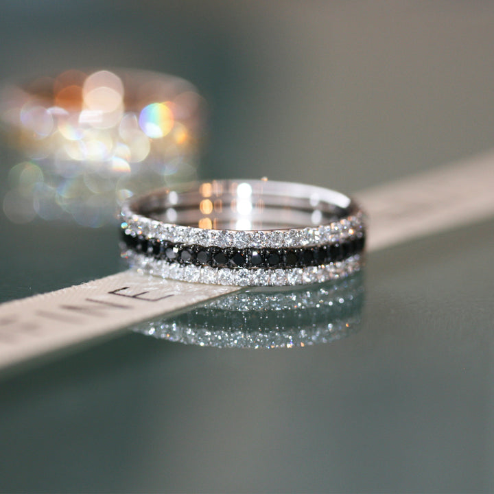 Black and White Diamond Full Eternity Ring Stacking