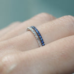 stackable diamond and sapphire eternity band
