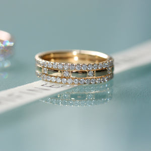 diamond filler ring stack 18ct yellow gold