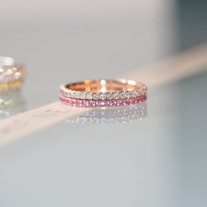 diamond and pink sapphire pair