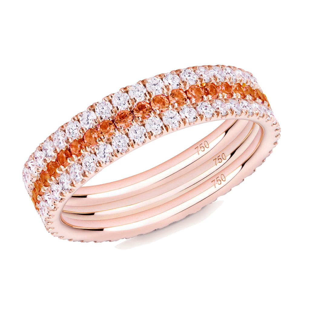 Orange Blossom eternity ring stack 18ct rose gold