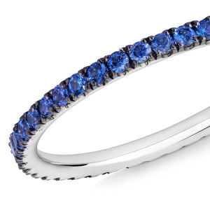 skinny blue sapphire eternity band