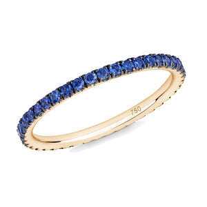 blue sapphire full eternity ring 18ct yellow gold