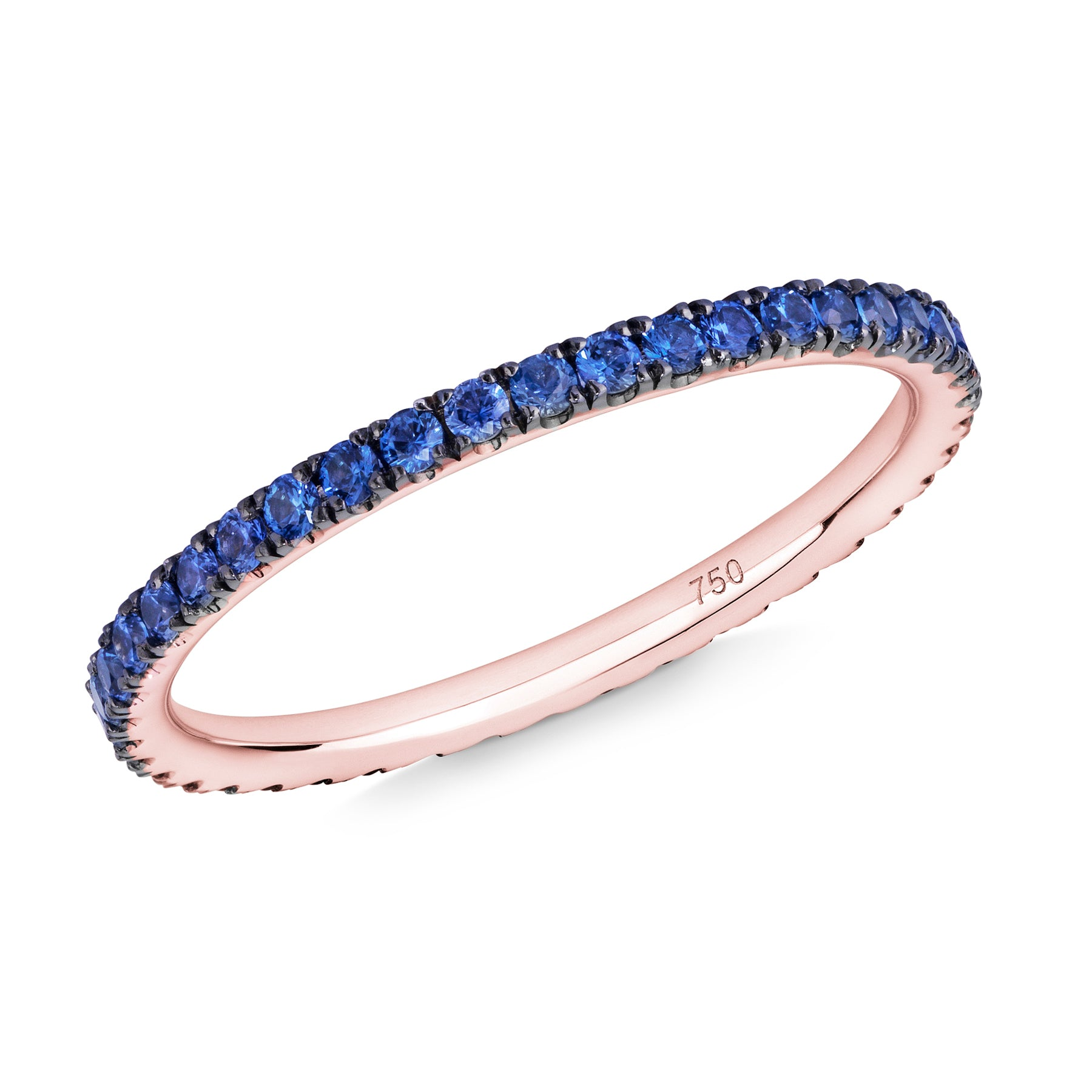 blue sapphire full eternity ring 18ct rose gold