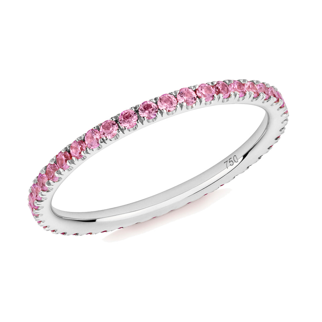 pink sapphire full eternity ring 18ct white gold