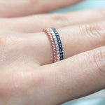 pink sapphire diamond and blue sapphire stacking rings