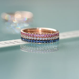 diamond, pink and blue sapphire
