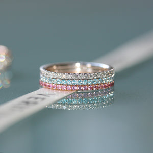 The Princess eternity ring stack 18ct gold