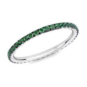 Green garnet ring in 18ct white gold on a white background.