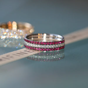 Red Hot eternity ring stack