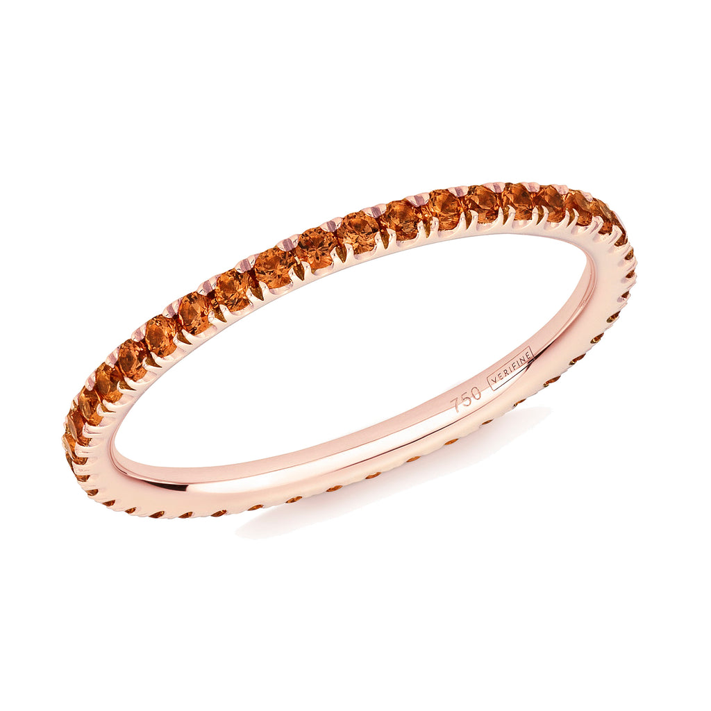 orange sapphire full eternity ring 18ct rose gold