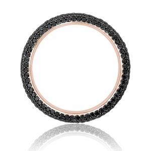 Gemopoli 5 row black diamond full eternity ring 18ct rose gold