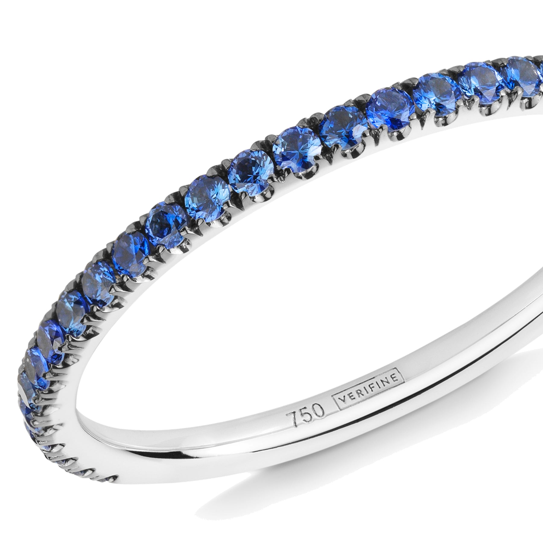 blue sapphire half eternity ring 18ct white gold