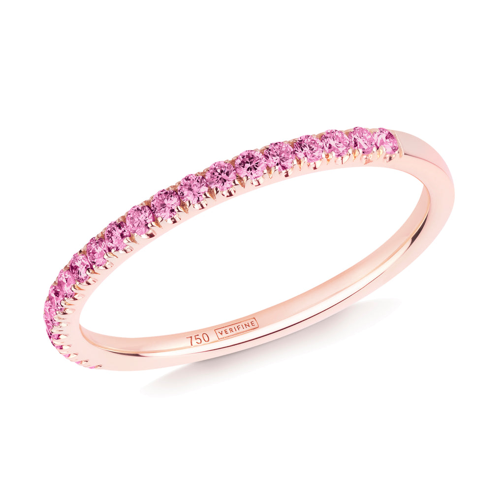 pink sapphire half eternity ring 18ct rose gold