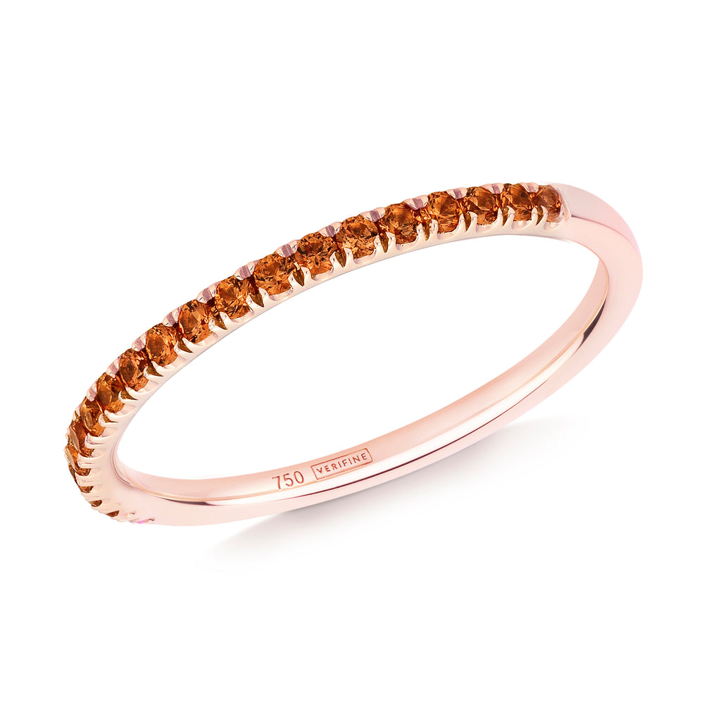 orange sapphire half eternity ring 18ct rose gold