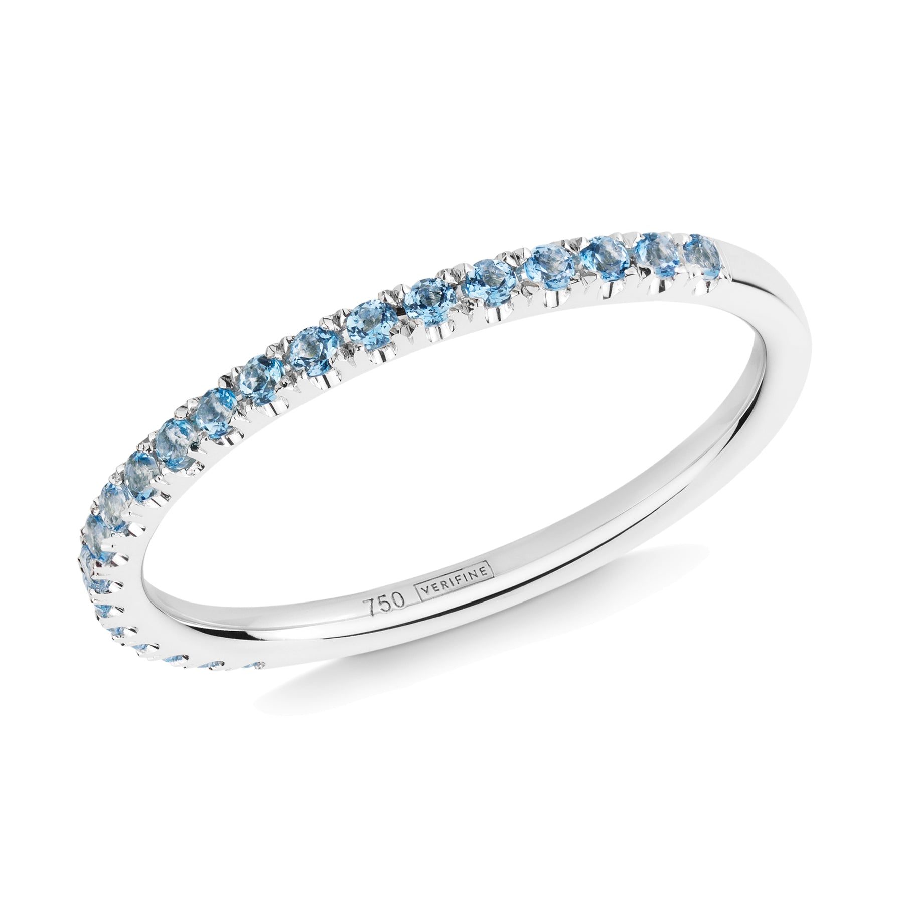 blue topaz half eternity ring 18ct white gold