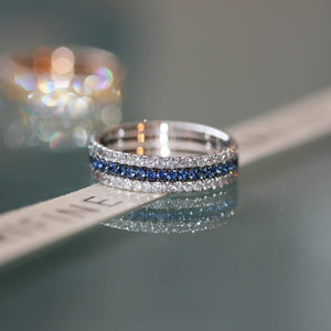 Royal Blue eternity ring stack 18ct white gold