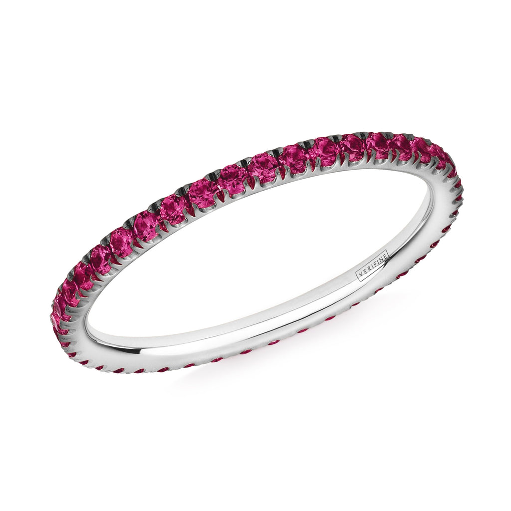 ruby full eternity ring in platinum