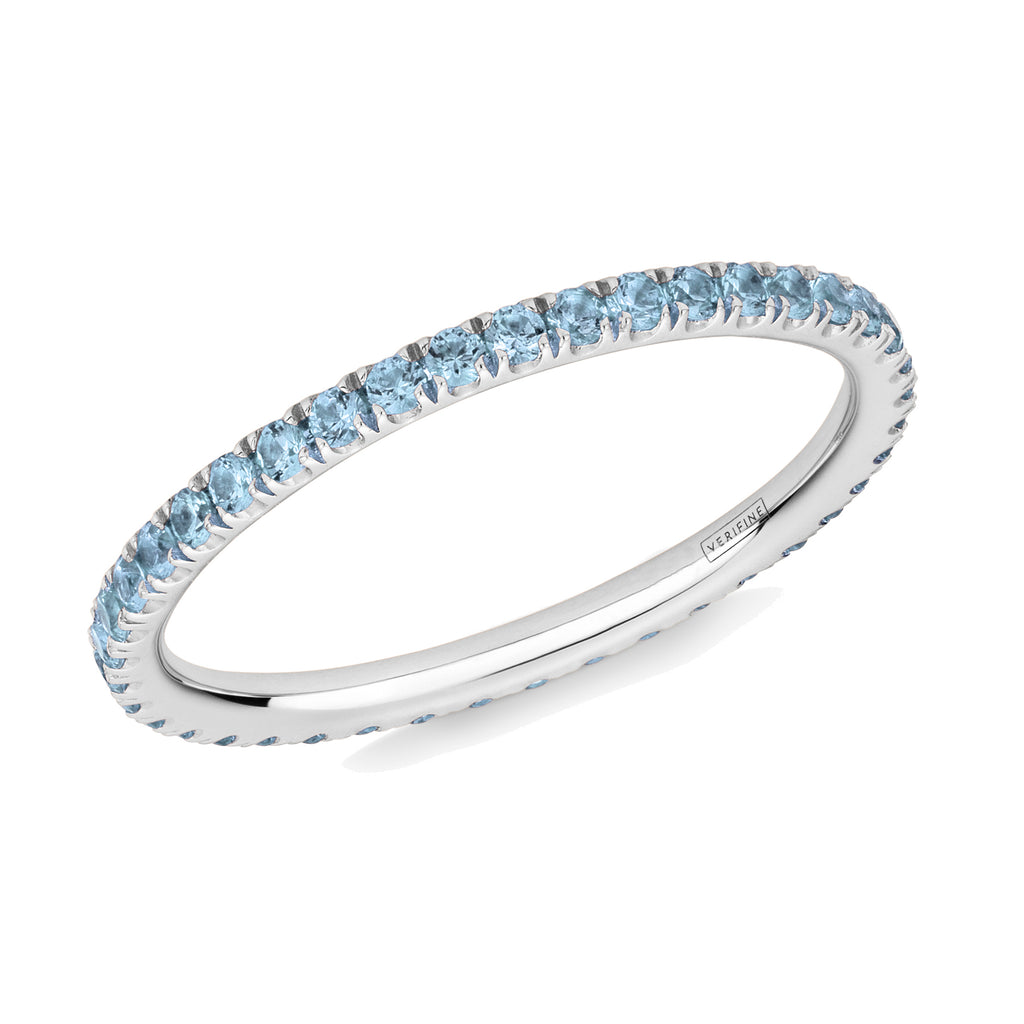 blue topaz full eternity ring in platinum