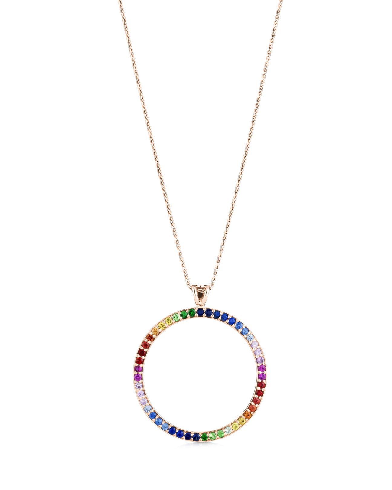 Rainbow circle pendant 18ct rose gold