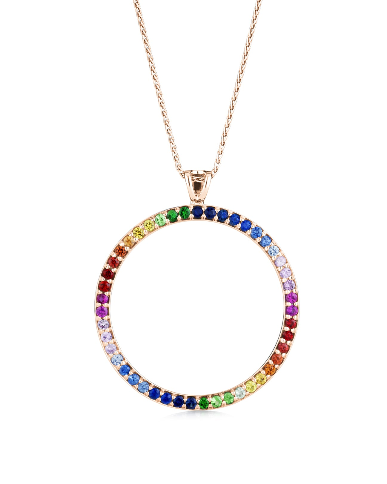 20mm Rainbow circle pendant 18ct rose gold